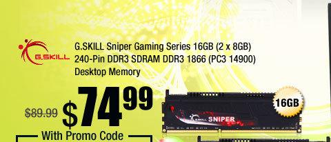 G.SKILL Sniper Gaming Series 16GB (2 x 8GB) 240-Pin DDR3 SDRAM DDR3 1866 (PC3 14900) Desktop Memory