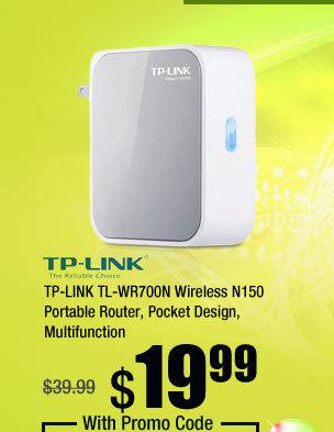 TP-LINK TL-WR700N Wireless N150 Portable Router, Pocket Design, Multifunction