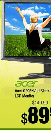 "Acer G205HVbd Black 20"" 5ms Widescreen LCD Monitor"