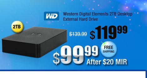 Western Digital Elements 2TB Desktop External Hard Drive
