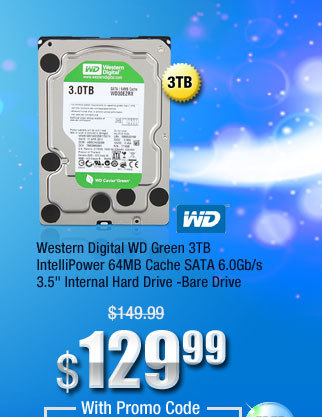 "Western Digital WD Green 3TB IntelliPower 64MB Cache SATA 6.0Gb/s 3.5"" Internal Hard Drive -Bare Drive"