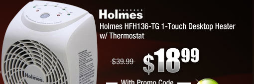 Holmes HFH136-TG 1-Touch Desktop Heater w/ Thermostat