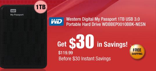 Western Digital My Passport 1TB USB 3.0 Portable Hard Drive WDBBEP0010BBK-NESN
