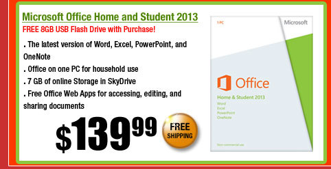 Microsoft Office Home and Student 2013. FREE 8GB USB Flash Drive with Purchase!