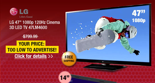 LG 47 inch 1080p 120Hz Cinema 3D LED TV 47LM4600