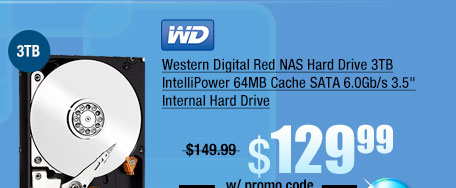 "Western Digital Red NAS Hard Drive 3TB IntelliPower 64MB Cache SATA 6.0Gb/s 3.5"" Internal Hard Drive"