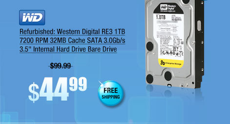 "Refurbished: Western Digital RE3 1TB 7200 RPM 32MB Cache SATA 3.0Gb/s 3.5"" Internal Hard Drive Bare Drive"
