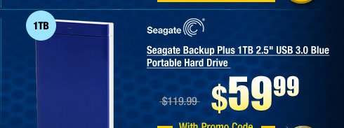 "Seagate Backup Plus 1TB 2.5"" USB 3.0 Blue Portable Hard Drive"