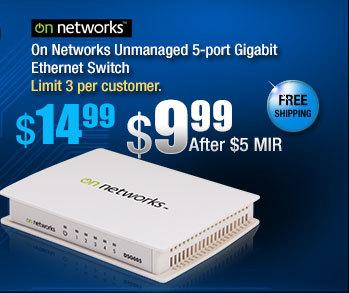 On Networks Unmanaged 5-port Gigabit Ethernet Switch