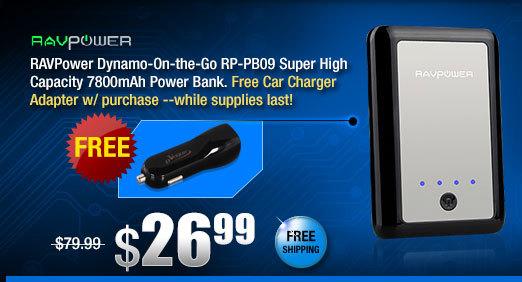 RAVPower Dynamo-On-the-Go RP-PB09 Super High Capacity 7800mAh Power Bank