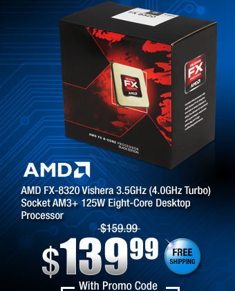AMD FX-8320 Vishera 3.5GHz (4.0GHz Turbo) Socket AM3+ 125W Eight-Core Desktop Processor