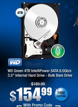 "WD Green 4TB IntelliPower SATA 6.0Gb/s 3.5"" Internal Hard Drive - Bulk Bare Drive"