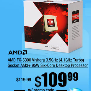 AMD FX-6300 Vishera 3.5GHz (4.1GHz Turbo) Socket AM3+ 95W Six-Core Desktop Processor