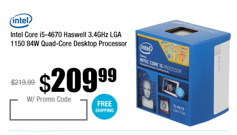 Intel Core i5-4670 Haswell 3.4GHz LGA 1150 84W Quad-Core Desktop Processor