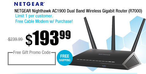 NETGEAR Nighthawk AC1900 Dual Band Wireless Gigabit Router (R7000)