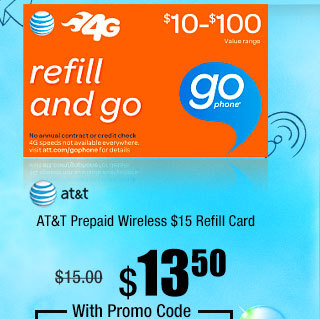 AT&T Prepaid Wireless $15 Refill Card