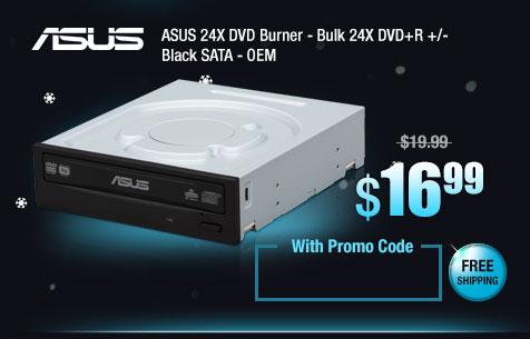 ASUS 24X DVD Burner - Bulk 24X DVD+R +/- Black SATA - OEM