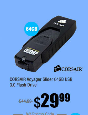 CORSAIR Voyager Slider 64GB USB 3.0 Flash Drive