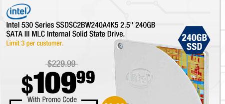 """Intel 530 Series SSDSC2BW240A4K5 2.5"""" 240GB SATA III MLC Internal Solid State Drive"""