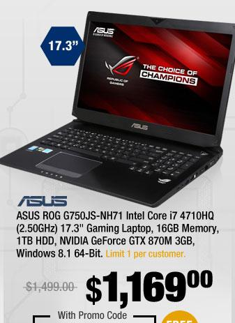 """ASUS ROG G750JS-NH71 Intel Core i7 4710HQ (2.50GHz) 17.3"""" Gaming Laptop, 16GB Memory, 1TB HDD, NVIDIA GeForce GTX 870M 3GB, Windows 8.1 64-Bit"""