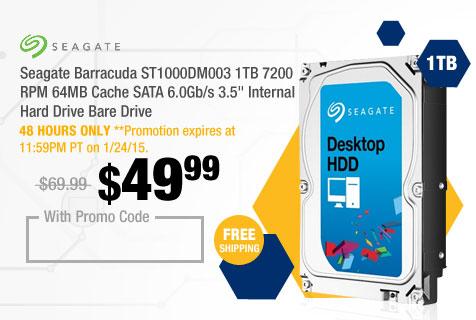 "Seagate Barracuda ST1000DM003 1TB 7200 RPM 64MB Cache SATA 6.0Gb/s 3.5"" Internal Hard Drive Bare Drive"