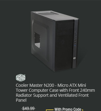 Cooler Master N200 - Micro ATX Mini Tower Computer Case with Front 240mm Radiator Support and Ventilated Front Panel
