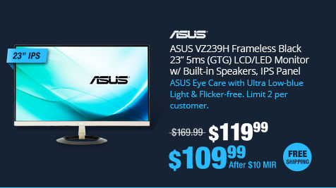 "ASUS VZ239H Frameless Black 23"" 5ms (GTG) LCD/LED Monitor w/ Built-in Speakers, IPS Panel"