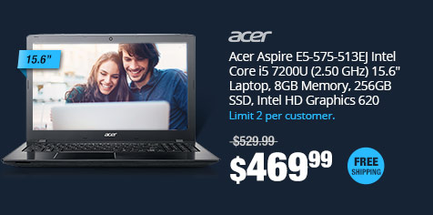 "Acer Aspire E5-575-513EJ Intel Core i5 7200U (2.50 GHz) 15.6"" Laptop, 8GB Memory, 256GB SSD, Intel HD Graphics 620"