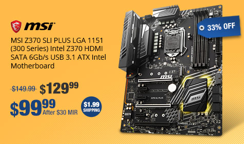 MSI Z370 SLI PLUS LGA 1151 (300 Series) Intel Z370 HDMI SATA 6Gb/s USB 3.1 ATX Intel Motherboard
