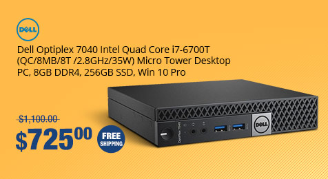Dell Optiplex 7040 Intel Quad Core i7-6700T (QC/8MB/8T /2.8GHz/35W) Micro Tower Desktop PC, 8GB DDR4, 256GB SSD, Win 10 Pro