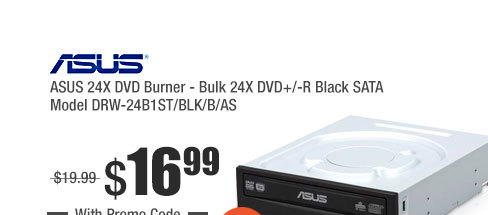 ASUS 24X DVD Burner - Bulk 24X DVD+/-R Black SATA Model DRW-24B1ST/BLK/B/AS