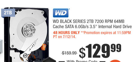 "WD BLACK SERIES 2TB 7200 RPM 64MB Cache SATA 6.0Gb/s 3.5"" Internal Hard Drive"