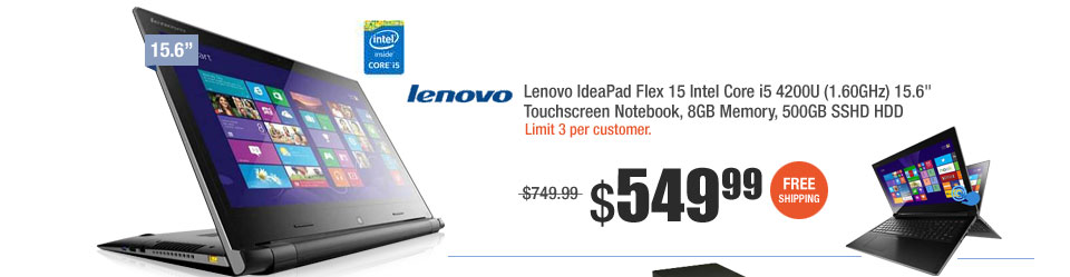 "Lenovo IdeaPad Flex 15 Intel Core i5 4200U (1.60GHz) 15.6"" Touchscreen Notebook, 8GB Memory, 500GB SSHD HDD"