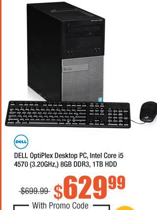 DELL OptiPlex Desktop PC, Intel Core i5 4570 (3.20GHz,) 8GB DDR3, 1TB HDD