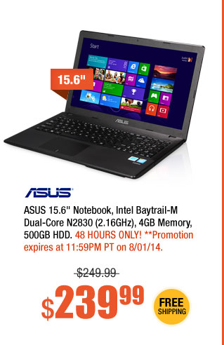 "ASUS 15.6"" Notebook, Intel Baytrail-M Dual-Core N2830 (2.16GHz), 4GB Memory, 500GB HDD"
