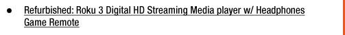 Refurbished: Roku 3 Digital HD Streaming Media player w/ Headphones Game Remote