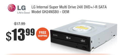 LG Internal Super Multi Drive 24X DVD+/-R SATA Model GH24NSB0 - OEM