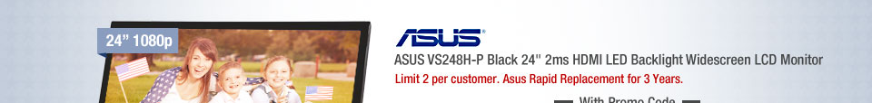 "ASUS VS248H-P Black 24"" 2ms HDMI LED Backlight Widescreen LCD Monitor"