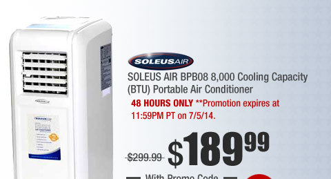 SOLEUS AIR BPB08 8,000 Cooling Capacity (BTU) Portable Air Conditioner