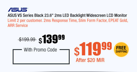 "ASUS VS Series Black 23.6"" 2ms LED Backlight Widescreen LCD Monitor"