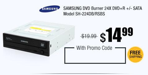 SAMSUNG DVD Burner 24X DVD+R +/- SATA Model SH-224DB/RSBS