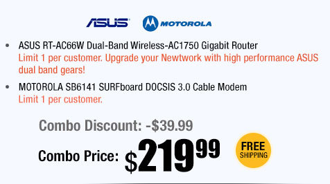 ASUS RT-AC66W Dual-Band Wireless-AC1750 Gigabit Router + MOTOROLA SB6141 SURFboard DOCSIS 3.0 Cable Modem