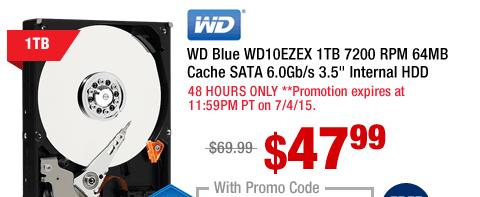 """WD Blue WD10EZEX 1TB 7200 RPM 64MB Cache SATA 6.0Gb/s 3.5"""" Internal HDD"""