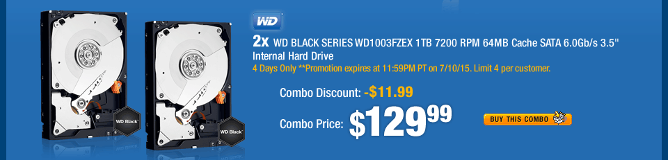 "Combo: 2x - WD BLACK SERIES WD1003FZEX 1TB 7200 RPM 64MB Cache SATA 6.0Gb/s 3.5"" Internal Hard Drive"