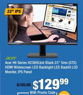 "Acer H6 Series H236HLbid Black 23"" 5ms (GTG) HDMI Widescreen LED Backlight LED Backlit LCD Monitor, IPS Panel"