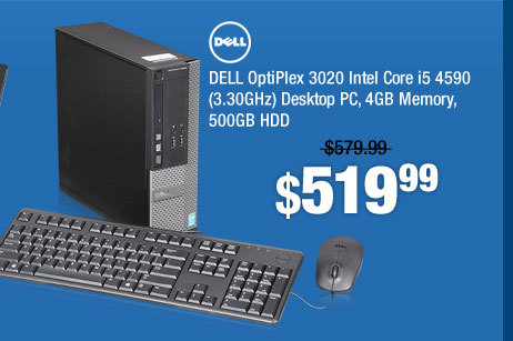 DELL OptiPlex 3020 Intel Core i5 4590 (3.30GHz) Desktop PC, 4GB Memory, 500GB HDD
