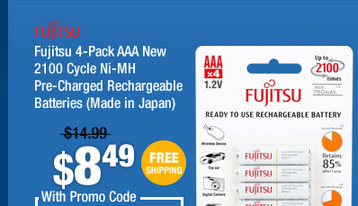 Fujitsu 4-Pack AAA New 2100 Cycle Ni-MH Pre-Charged Rechargeable Batteries (Made in Japan)