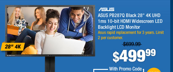 "ASUS PB287Q Black 28"" 4K UHD 1ms 10-bit HDMI Widescreen LED Backlight LCD Monitor"