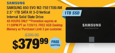 "SAMSUNG 850 EVO MZ-75E1T0B/AM 2.5"" 1TB SATA III 3-D Vertical Internal Solid State Drive"