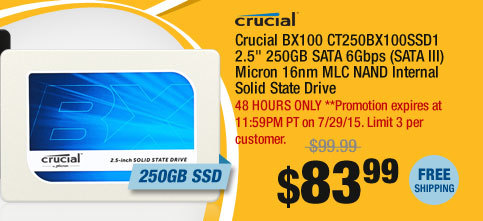 "Crucial BX100 CT250BX100SSD1 2.5"" 250GB SATA 6Gbps (SATA III) Micron 16nm MLC NAND Internal Solid State Drive"